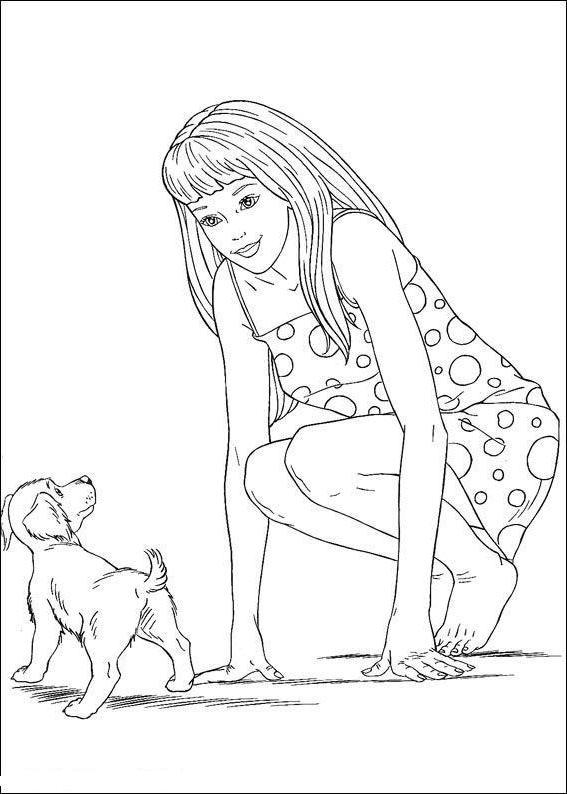 Раскраска девочка с собачкой - 3