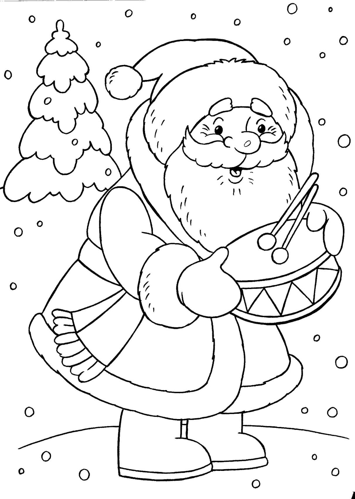 Онлайн раскраски для детей дед мороз